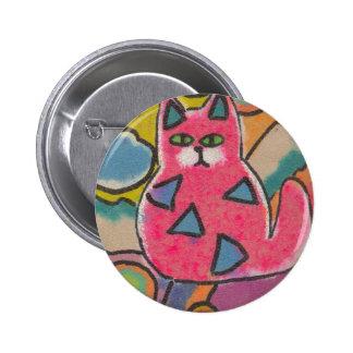 Diseño abstracto loco colorido del gato pins