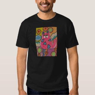 Diseño abstracto loco colorido del gato polera