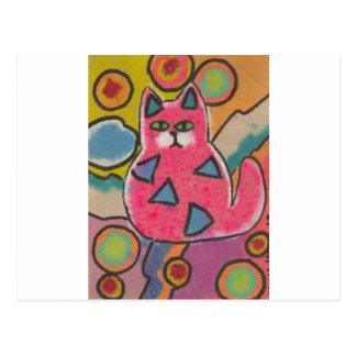Diseño abstracto loco colorido del gato postal
