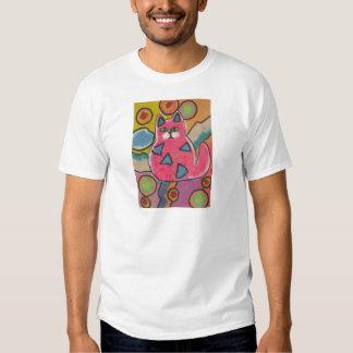 Diseño abstracto loco colorido del gato remera