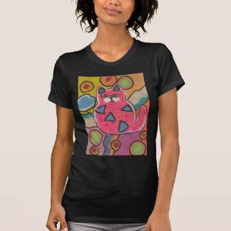 Diseño abstracto loco colorido del gato remeras