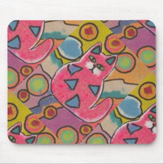 Diseño abstracto loco colorido del gato tapete de ratones