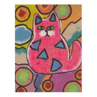 Diseño abstracto loco colorido del gato tarjetas postales