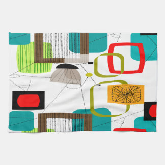 Diseño abstracto moderno de los mediados de siglo toalla de mano