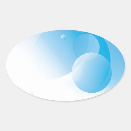 Diseño abstracto moderno del círculo en azul calcomanía óval