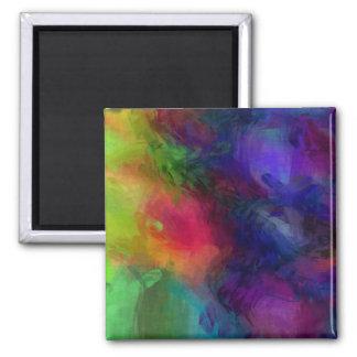 Diseño abstracto, muchos colores imán cuadrado