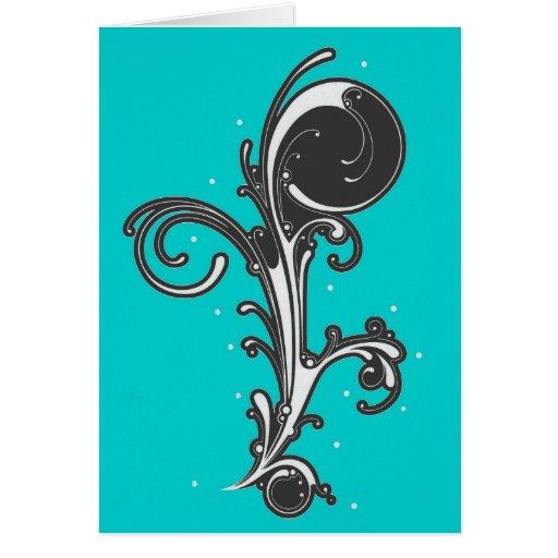Diseño abstracto Notecard de la voluta Tarjeta Pequeña