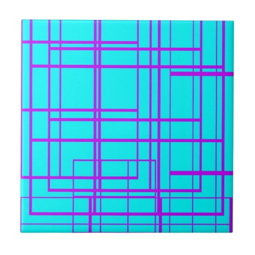 Diseño abstracto púrpura y azul azulejo cuadrado pequeño