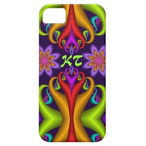 Diseño abstracto rizado lindo con las flores y el funda para iPhone SE/5/5s