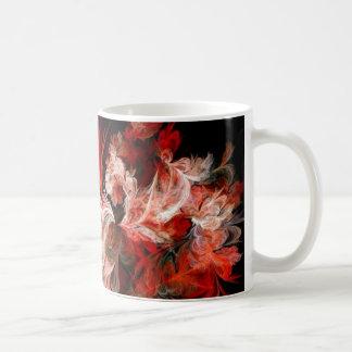 Diseño abstracto rojo y blanco en negro taza de café