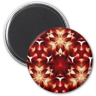Diseño abstracto rojo y blanco imán redondo 5 cm