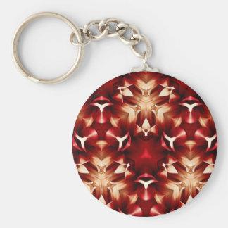 Diseño abstracto rojo y blanco llavero redondo tipo pin