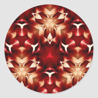 Diseño abstracto rojo y blanco pegatina redonda