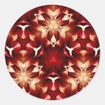 Diseño abstracto rojo y blanco pegatinas redondas