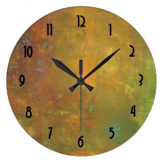 Diseño abstracto terroso del verde del oro de reloj redondo grande