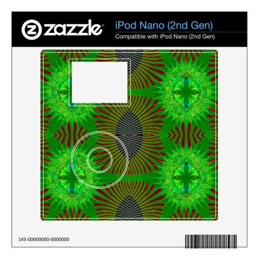Diseño abstracto verde rojo iPod nano 2G skin