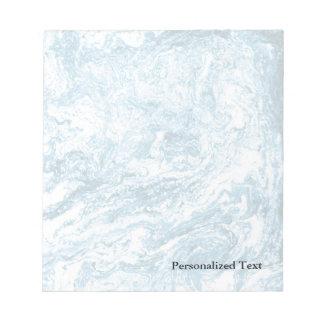 Diseño abstracto veteado el | azul y blanco bloc de notas