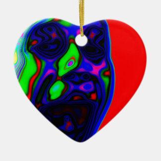 Diseño activo psico de la cara adorno navideño de cerámica en forma de corazón