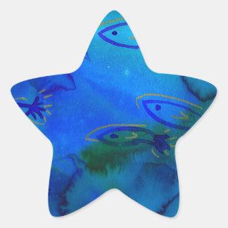 Diseño acuoso de los pescados pegatina en forma de estrella