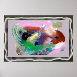 Diseño acuoso Pacífico-Colorido con textura Poster