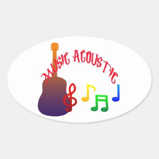 Diseño acústico de la música a todo color pegatina ovalada