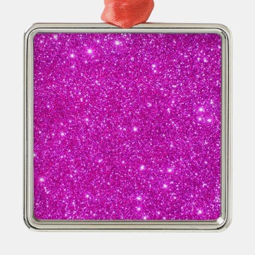 Diseño adaptable de la chispa rosada del brillo adorno navideño cuadrado de metal