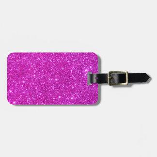 Diseño adaptable de la chispa rosada del brillo etiquetas maleta