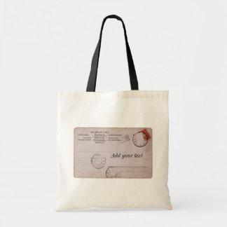 Diseño adaptable de la postal del vintage bolsa tela barata