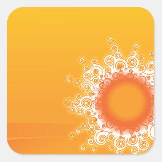 Diseño adaptable de la sol rizada pegatina cuadrada