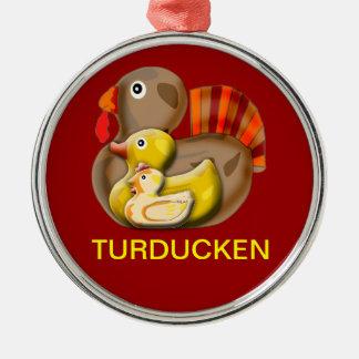 Diseño adaptable de Turducken Adorno Redondo Plateado