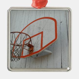 Diseño adaptable del aro de baloncesto adorno navideño cuadrado de metal