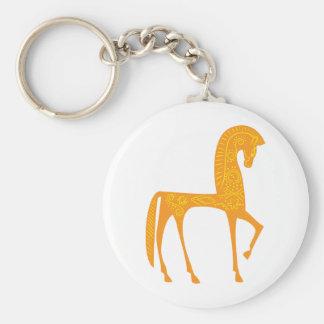 Diseño adaptable del caballo persa del diseño llavero redondo tipo pin