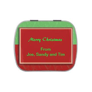 Diseño adaptable del navidad verde rojo simple latas de dulces