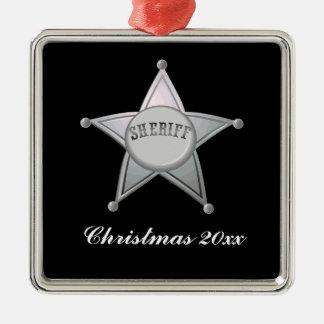 Diseño adaptable del oficial de la estrella de la adorno navideño cuadrado de metal