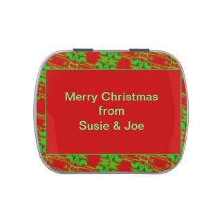 Diseño adaptable verde rojo bonito del navidad frascos de caramelos