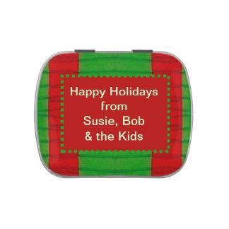 Diseño adaptable verde rojo moderno del navidad frascos de dulces