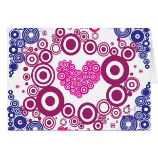 Diseño adolescente femenino bonito de los círculos tarjeton