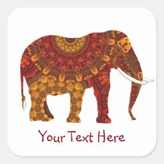 Diseño adornado adornado del elefante indio pegatina cuadrada
