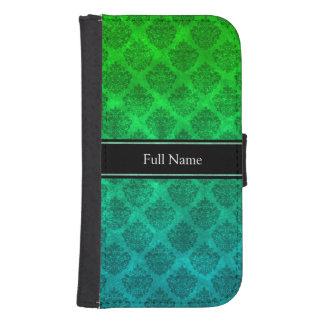 Diseño adornado azulverde de la textura del Grunge Funda Billetera Para Teléfono