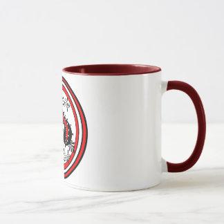 Diseño adornado de la espada blanco/rojo/negro taza