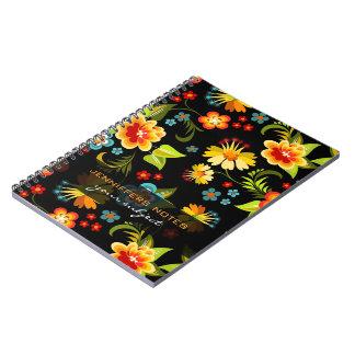 Diseño adornado de las flores del vintage colorido libreta espiral