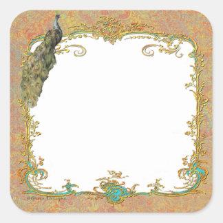 Diseño adornado del arte del pavo real n Paisley Pegatina Cuadrada