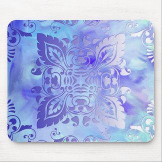 Diseño adornado del azul y de la lavanda alfombrillas de raton