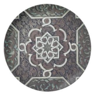 Diseño adornado del mosaico de Alhambra Platos