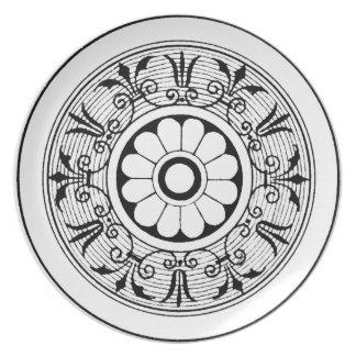 Diseño adornado francés del medallón negro plato de cena