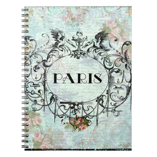 Diseño adornado rococó francés de París Spiral Notebook