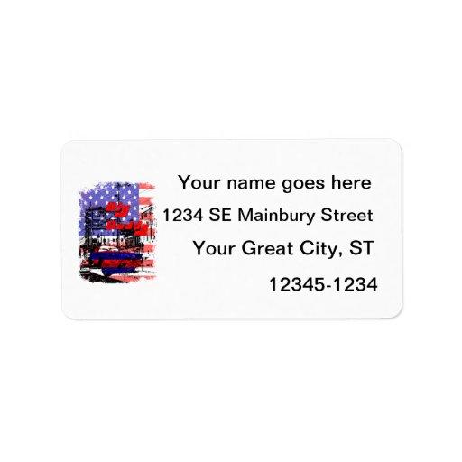 diseño afectado azul rojo grande del papá etiqueta de dirección