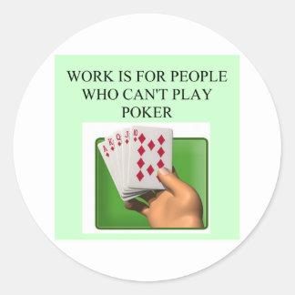 diseño afortunado del jugador de póker pegatina redonda