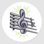 diseño agudo de la nota de la música de la pegatina redonda