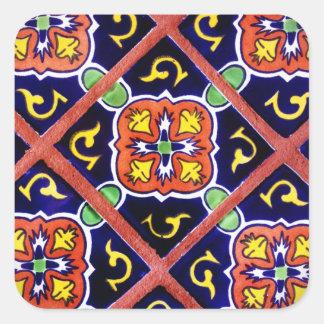 Diseño al sudoeste anaranjado quemado de la teja pegatina cuadrada